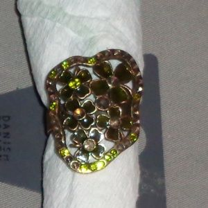 New Pilgrim Green Floral Adjustable Ring Jewelry